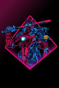 720x1280 Deadpool Neon Armor Minimal 5k