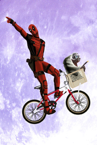 1280x2120 Deadpool On Cycle
