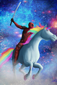 Deadpool On Unicorn