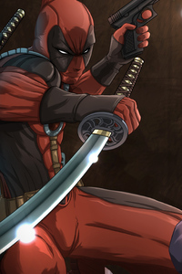 1080x2280 Deadpool Vs Deathstroke 4k