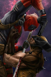320x480 Deadpool Vs Wolverine Art