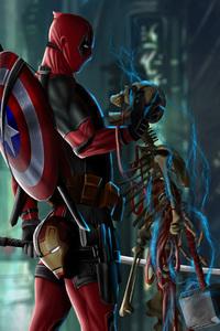 Deadpool With Captain America Shield