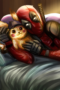 1080x2280 Deadpool With Pokemon Artwork 4k