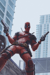 Deadpool With Two Guns Up Artwork