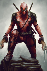 480x800 Deadpool With Wolverine Claws In Hand