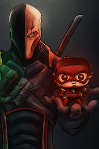 1080x2280 Deathstroke Ultimatum Arrow Flash Artwork