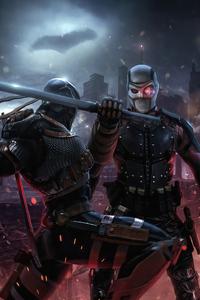 320x480 Deathstroke Vs Deadshot Fight 4k