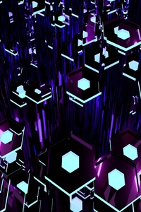 240x320 Deep Purple Tron Hexagons 8k
