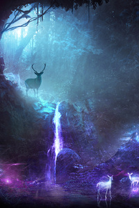 320x480 Deer Animal Night Fantasy Waterfall