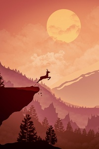 Deer Jumping Out From Mountain Minimalism