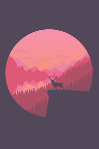 Deer On Cliff Minimal 8k