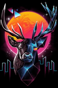 Deer Retro Abstract Art 5k