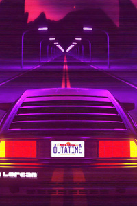 Delorean Synthwave 4k