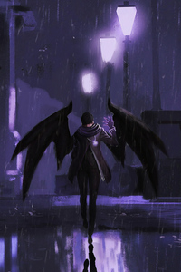 640x1136 Demon Character With Wings 4k