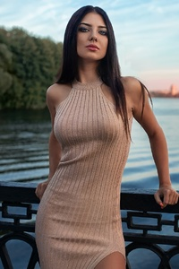 Depth Of Field Girl Long Hair Model Dress Riverside