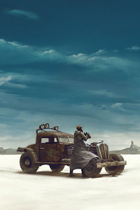 240x320 Desert Alone Man Car