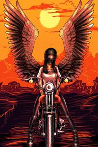Devil Biker Angel Girl 4k