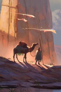 Digital Art Camel Desert 4k