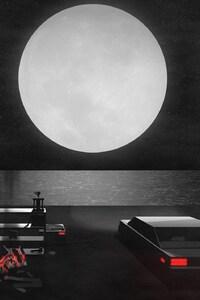 Digital Art Car Moon