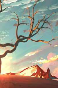 Digital Art Tree Sky Mountains