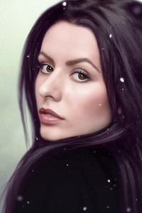 1242x2688 Digital Art Women Long Hair Drawing Face Brown Eyes