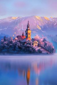 Digital artist Land Water Mountains Lake Slovenia