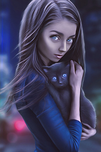 1080x1920 Digital Girl With Cat