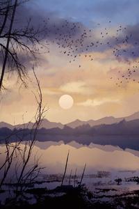 Digital Painting Lake Landscape Nature