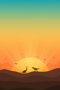 320x480 Dinosaur Minimal Morning 4k