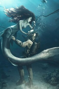 2160x3840 Diver and The Mermaid