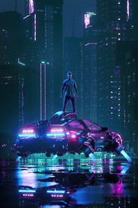 640x1136 Dj Cyber Neon Boy 4k