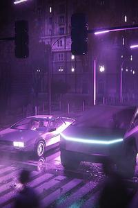 1125x2436 Dmc Delorean And Tesla Cybertruck Neon Life