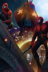 640x1136 Doctor Strange Dareveil And Spidermans In Spider Man No Way Home 4k