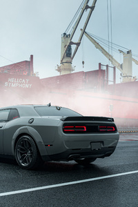 1280x2120 Dodge Challenger 4k Rear