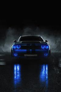 240x320 Dodge Challenger Angel Blue Lights 4k