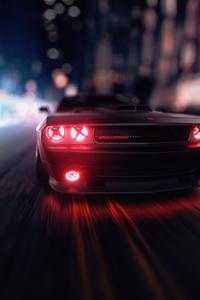 480x800 Dodge Challenger Angel Headlights 4k
