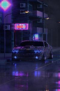 640x1136 Dodge Challenger On Street Neon 5k