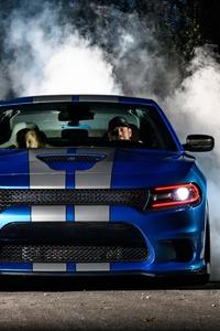 1080x2160 Dodge Hellcat Burnout
