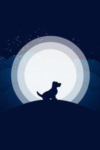 1280x2120 Dog Moon Abstract 10k