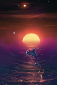 1125x2436 Dolphin Dream 4k