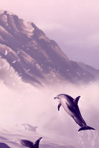 1080x2160 Dolphin Jumping Out Of Water Digital Art