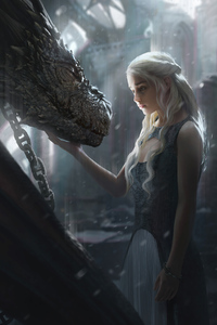 1125x2436 Dragon And Daenerys Targayen