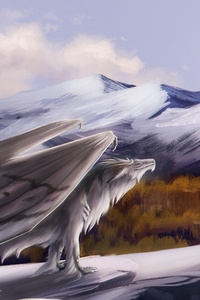 1440x2560 Dragon Feral Landscape Fantasy Mountain Art 5k