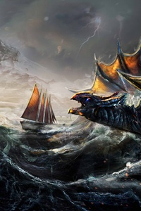 Dragon Fight Ocean Ship Painting 5k