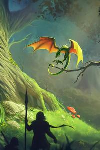 1080x1920 Dragon Forest Fantasy Artwork