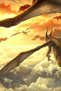 320x568 Dragon Over The Clouds 4k