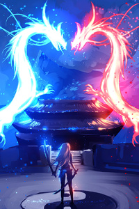 800x1280 Dragon Red Blue Colorful Art 4k