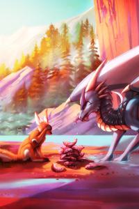 Dragon Wolf Drawings Painting Fantasy 4k