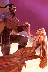 540x960 Drogo And Daenerys Romantic Love 4k