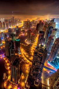Dubai Buildings Night Lights Top View 8k